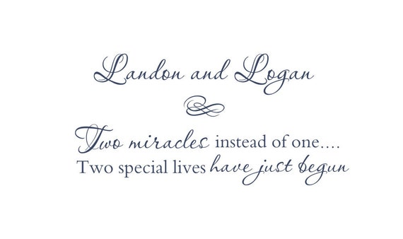 Two Miracles Vinyl Wall Decal for Twins -  Personalized Baby Nursery Wall Quote Poem Wall Art  18H x 36W FS058