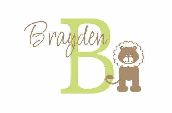 """Jungle Vinyl Wall Decal Lion Wall Decal Personalized Initial and Name for Boy Baby Nursery or Safari Boys Room  22""""H x 36""""W Wall Art FS080"""
