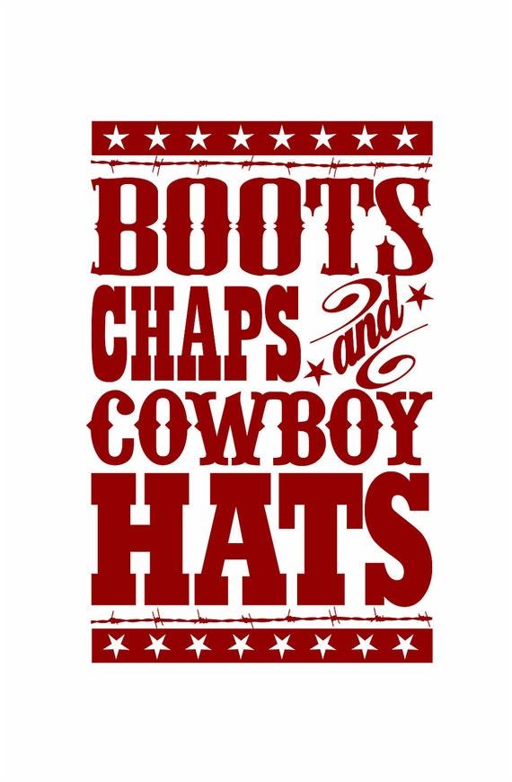 "Cowboy Wall Decal - Boots Chaps Cowboy Hats Western Vinyl Wall Decal for Baby Nursery or Boy's Room 35""H x 22""W Wall Art FS109"