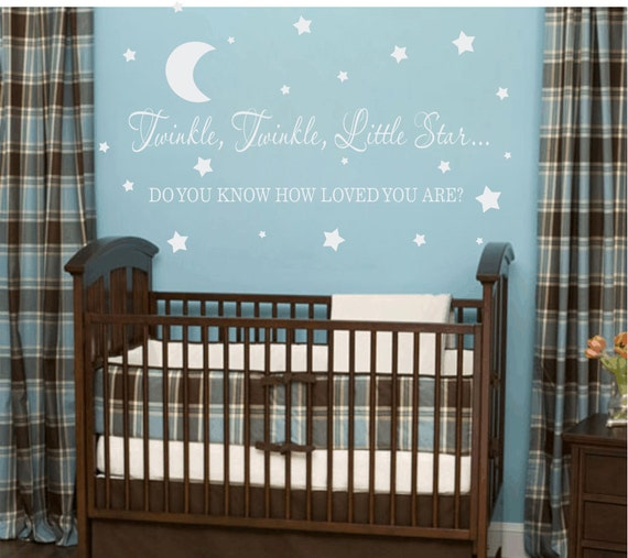 Twinkle Twinkle Little Star Vinyl Wall Decal - Baby Nursery Wall Quote - Baby Lullaby Wall Decal  WA081