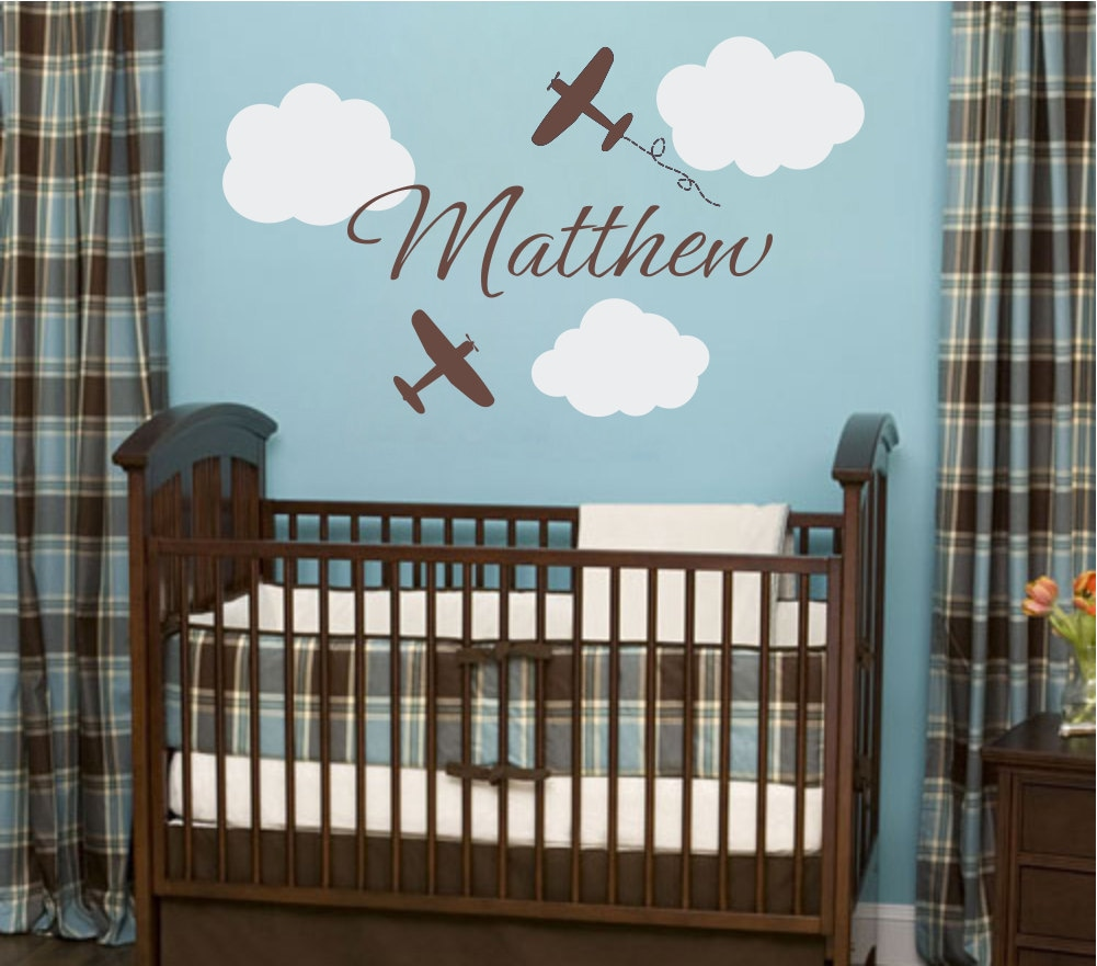 Airplane wall decals airplane cloud and personalized by for Baby room decoration wall stickers
