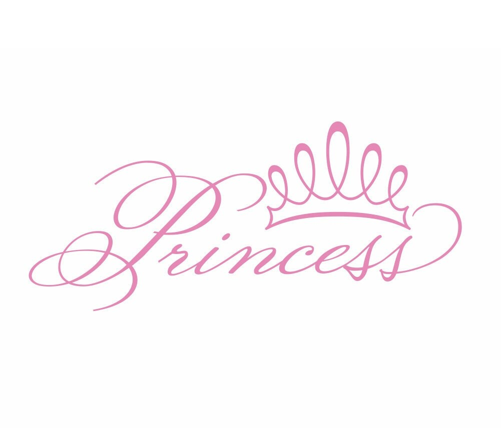 Princess Vinyl Wall Decal With Tiara Crown For Girls By