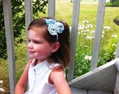 SUPER SALE- Little Miss Yoyo Headband in Blue and Lavender Hues