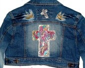 JACKETS Upcycled clothing Jean Glam Rocker OOAK Hand Painted CROSS Women Clothes Jean Jacket Clothing For Women Unique Women Jackets Jean