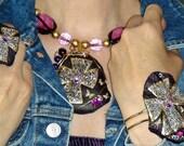 CHUNKY CUFF BRACELET Chunky Jewelry Purple Gold Silver Gypsy Jewelry Jewel Bracelet Bold jewelry Bohemian Big Cross Bracelet Unique Ooak