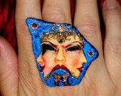 BIG RING BLUE Stone Ring Huge Big Knuckle Ring Art Deco Art Noveau hand painted ooak Unique Big Bold Big Cocktail Ring Fashion Ring Sparkle