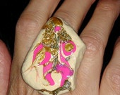 BIG COCKTAIL RING Big Statement Ring Big Ring Unique Ring Big Fashion Ring Large Ring Retro Style Hand painted Big Gold Ring Adjustable