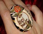 SKULL RING Rose Ring Big Ring Big Bold Ring Big Cocktail Ring Knuckle Ring Large Ring Designer Ring Black Ring Fashion Ring Statement Ring