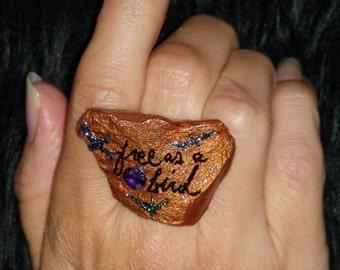 QUOTE RING JEWELERY Tattoo Jewelry Design Fashion Jewelry Bird Ring Ring Jewelry Art jewelry rings big ring Big Stone Ring Goth Copper Boho