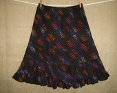 Women's A-Line Skirt with Ruffles in Deep Blue, Plum and Multi Spots on Black, Resort Wear, Size XS through L