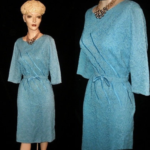 Vintage 1940s 1950s Turquoise Lace Satin Trim Mad Men Sheath Wiggle DRESS Wedding Party Art Deco Large