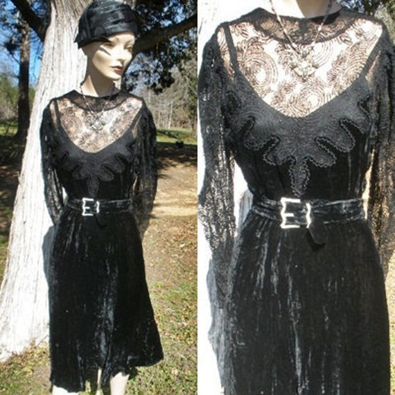 "Vintage WWII 30s 40s 1930s 1940s Black Velvet BOMBSHELL Dress Soutache Art Deco Rhinestone Buckle 36"" Bust"