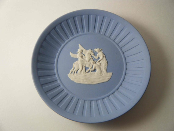 Vintage Wedgwood Jasperware Plate, Pegasus and Three Muses w/ Original Box