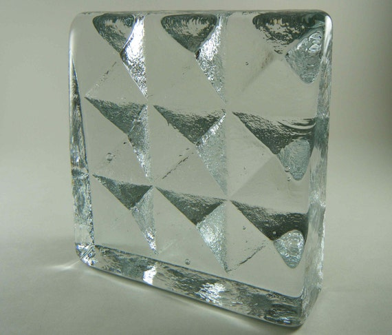 Vintage Blenko Glass Diamonds / Pyramid Bookend by Don Sheperd, 1980s - Treasury Item