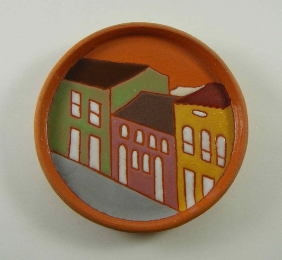 Vintage Pottery Wall Plaque, Colorful Houses Motif