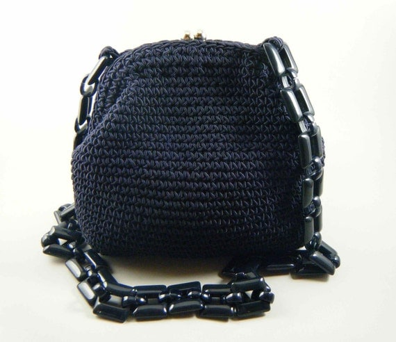 Vintage Navy Blue Crocheted Handbag with Lucite Strap, Saks Fifth Avenue, 1980s Italy