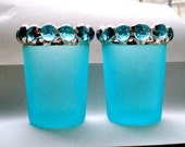 Votives Tealight Candle Holders Stained Glass blue frosted - quantity 4 pc
