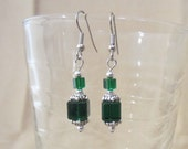 Emerald Green Cube Beaded Dangle Earrings, Handmade Original Fashion Jewelry, St. Patrick's Day Christmas Simple Holiday Jewelry Ladies Gift