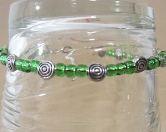 Celtic Beaded Anklets, Celtic Swirl Beads & Color Glass Bead Anklet, Handmade Silver Spiral Ankle Bracelet, St Patrick Celtic Jewelry Anklet