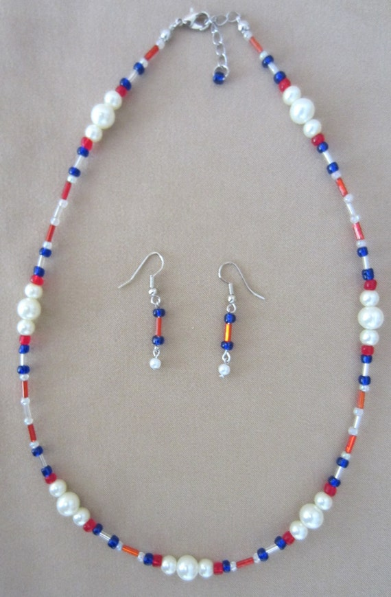 4th of July SPECIAL Patriotic in Pearls Necklace and Earrings