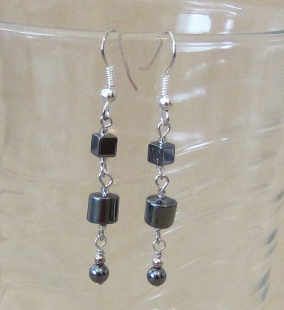 Handmade Triple Repurposed Vintage Hematite Beaded Dangle Earrings