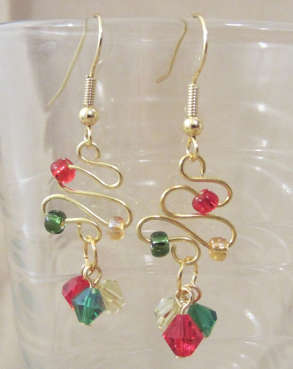 Abstract Decorated Christmas Tree Dangle Earrings