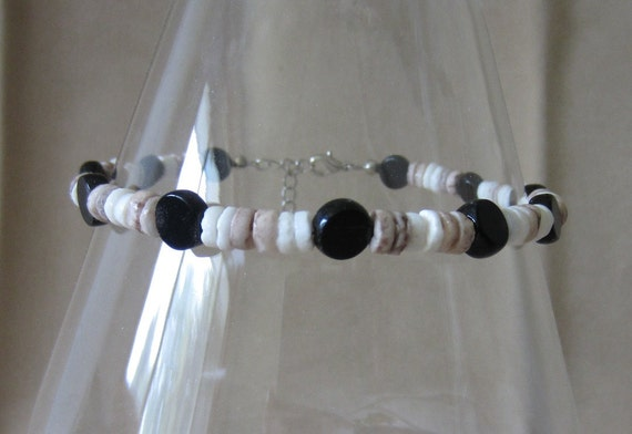 Two-tone Pooka Shell & Black Onyx Anklet