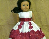 American Girl, 18 inch doll clothes: Fancy special occasion white satin dress with burgundy rose petals