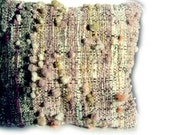 """Natural Dyed Wool Cushion / Pillow Cover - 19"""" x 19"""" Handspun, handwoven, grey, elderberry, coral, mustard, purple, white."""