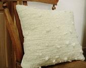"1 Natural White/ Cream Pure Wool Cushion / Pillow Covers - 18"" x 18"" Handspun, handwoven."