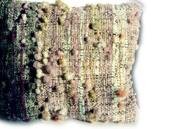 "Natural Dyed Wool Cushion / Pillow Cover - 19"" x 19"" Handspun, handwoven, grey, elderberry, coral, mustard, purple, white."