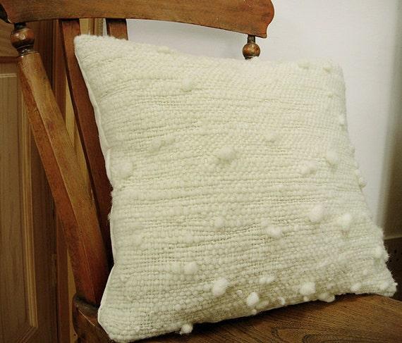 "Natural White/ Cream Wool Cushion / Pillow Cover - 19"" x 19"" Handspun, handwoven."