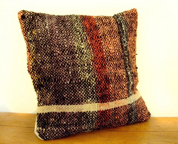 """Natural Dyed Cushion Hand Woven -  Wool Pillow Cover - 15"""" x 15"""" Black, red, orange, white, grey"""