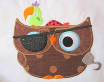 Pirate Owl Machine Applique Embroidery Design - 4x4, 5x7 & 6x8