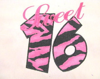 Sweet 16 Machine Applique Embroidery Design - 6x8, 5x7 & 4x4