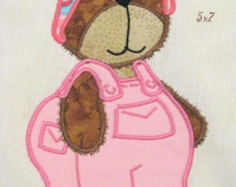 Bear Girl With Dungarees Machine Applique Embroidery Design - 5x7 & 4x4