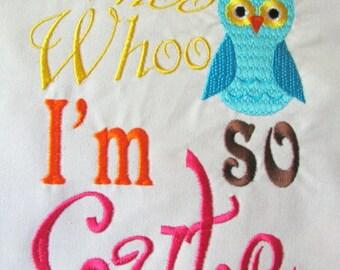 Whoo Whoo I'm So Cute Machine Embroidery Design - 6x8, 5x7 & 4x4