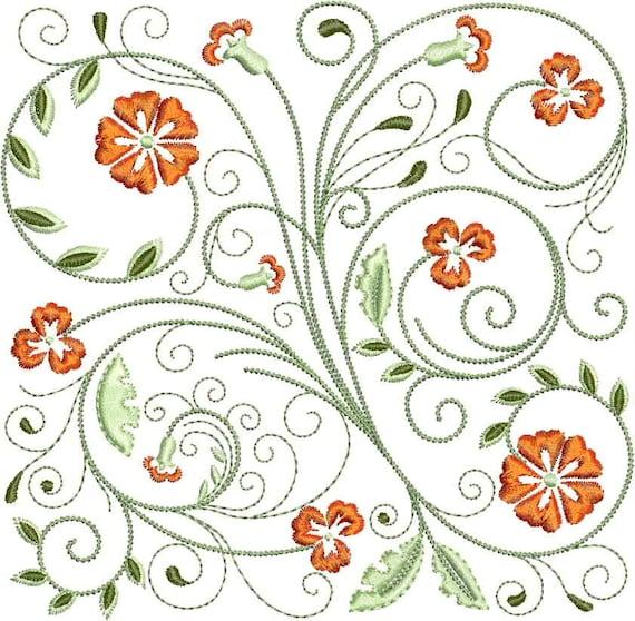 FabuFlower Blocks Machine Embroidery Design -  5x7