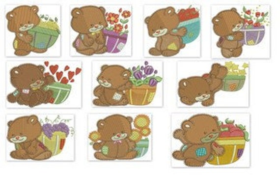 Cute Fuzzy Bears Machine Embroidery Design - 4x4
