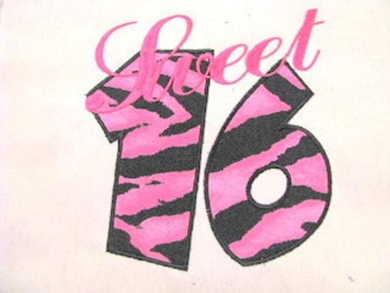 Sweet 16 Machine Applique Embroidery Design - 6x8, 5x7 & 4x4