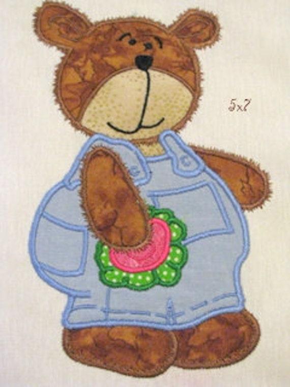 Bear Boy With Flower Machine Applique Embroidery Design - 5x7 & 4x4