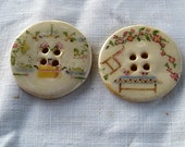 Pair of  large sew on buttons - hand made ceramic buttons  with Cross Stich Decals 'Home""