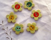 Polkadot Decal Flower Buttons - 6 ceramic buttons  - hand made