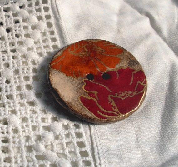 Huge Ceramic Art Button  - Poppy - 2 hole hand made