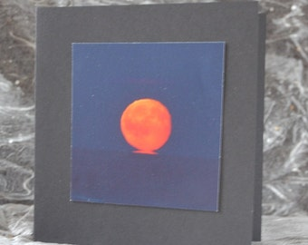 Moon note card, red moon picture, full moon over ocean, blank gift card, black square photo card, moon print, night sky, ocean at dusk