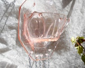 Pink Depression Glass Tea Cup Vintage Shabby Chic Wind Chime Glass Yard / Garden Art