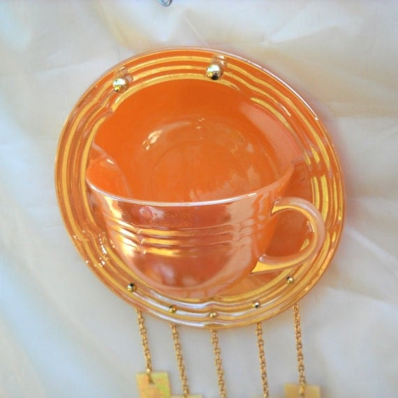 Vintage Wind chime Fire King Tea Cup and Saucer Suncatcher Windchime