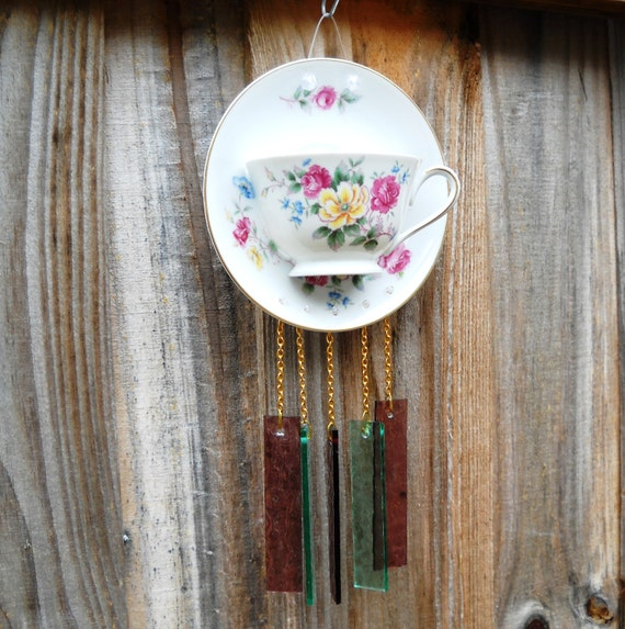 Upcycled Nortake Tea Cup Garden Suncatcher Wind Chime Glass Yard Art with Stained Glass Windchimes