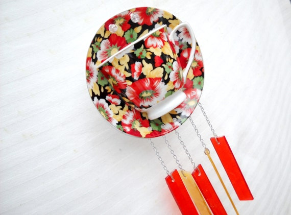 Flowered Chintz Tea Cup and Saucer Wind Chime Suncatcher