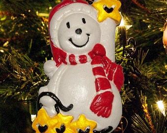 Snowman Reaches for the Stars - Handmade Christmas Tree Ornament